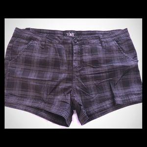 Black and gray plaid shorts 15